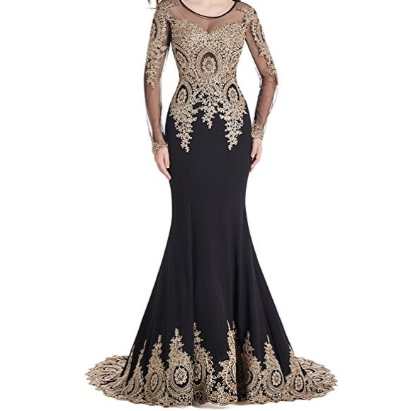 Dresses Black And Gold Long Sleeved Mermaid Evening Gown Poshmark